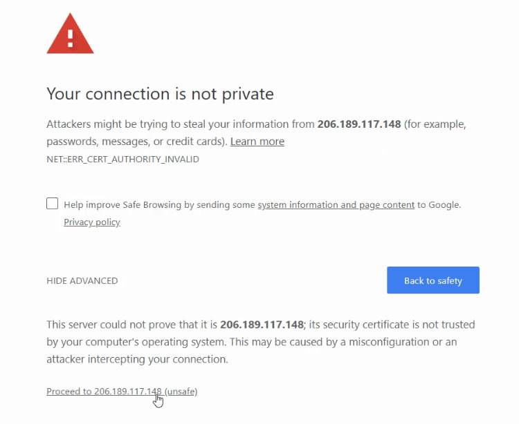 SSL warning